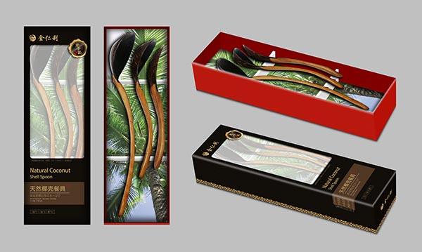 金仁利天然椰壳餐具包装设计