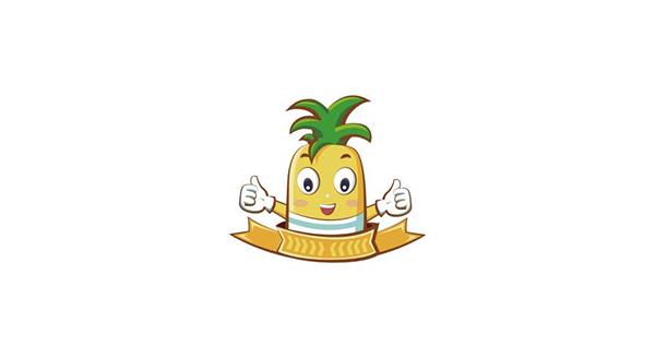 以诙谐可爱的卡通凤梨作为logo
